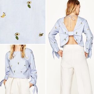 Zara Embroidered Fruit Blouse with Open Back